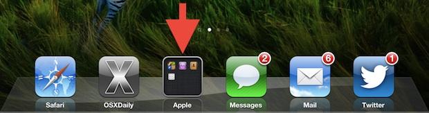 Folder in Dock on iOS, shown on iPad