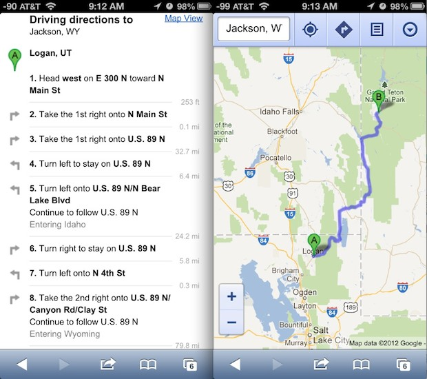 Google Maps directions from web app in iOS 6 on iPhone 5