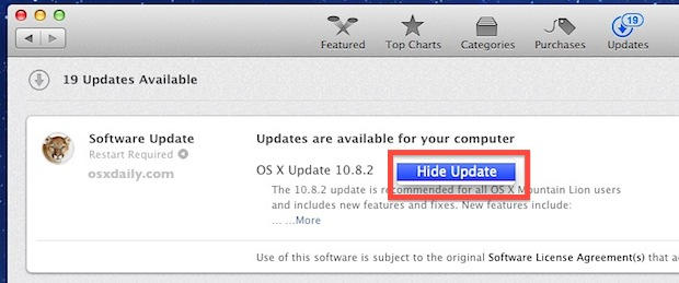 Hide a Software Update from the App Store in Mac OS X