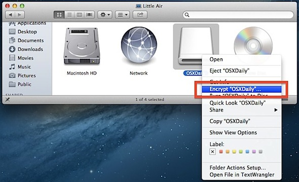 How to encrypt a disk in Mac OS  X the easy way