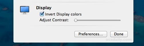 Invert the display in Mac OS X