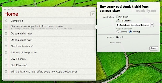 Set Location Based reminders in Mac OS X