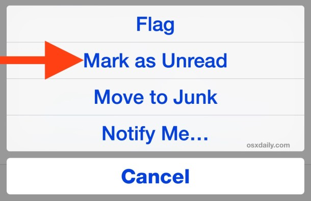 Mark an email as unread on iPhone Mail app
