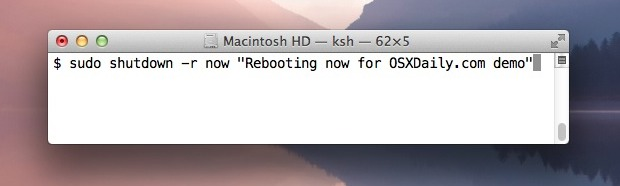 Reboot Mac OS X from the Command Line