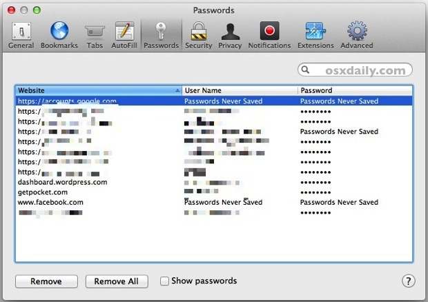 Remove Stored Passwords in Safari for Mac OS X