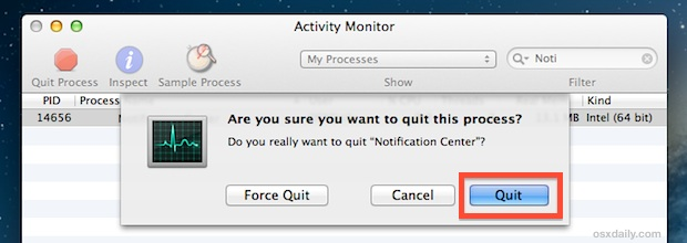 Restart Notification Center in Mac OS X