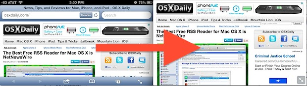 Safari in Full Screen mode on iPhone