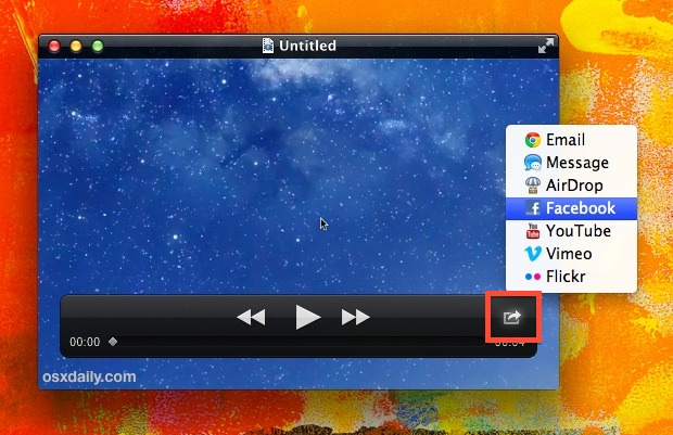 Share video to YouTube, Facebook, Vimeo, and more in OS  X QuickTime Player