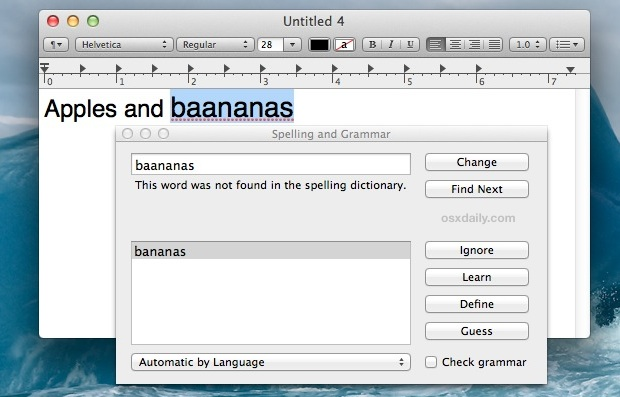 Spelling and Grammar Check in Mac OS X