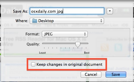 Stop Save As changing original file in OS X