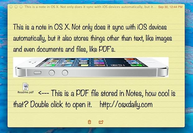 Store files, images, and more in OS X Notes app
