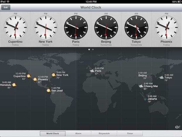 Weather around the world as shown in Clock on iPad