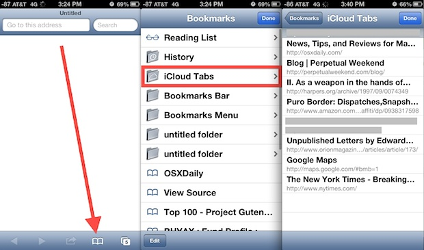 Access iCloud tabs on iPhone and iPod touch