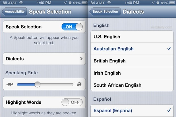 Change voice of Speak Selection in iOS