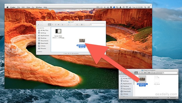 Copy files between Macs with Screen Sharing in OS X