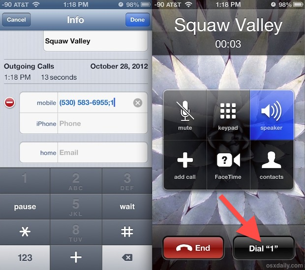 Add an Extension Dialing button to any iPhone contact
