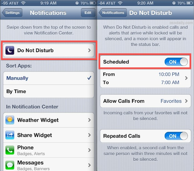 Set Do Not Disturb on a Schedule in iOS