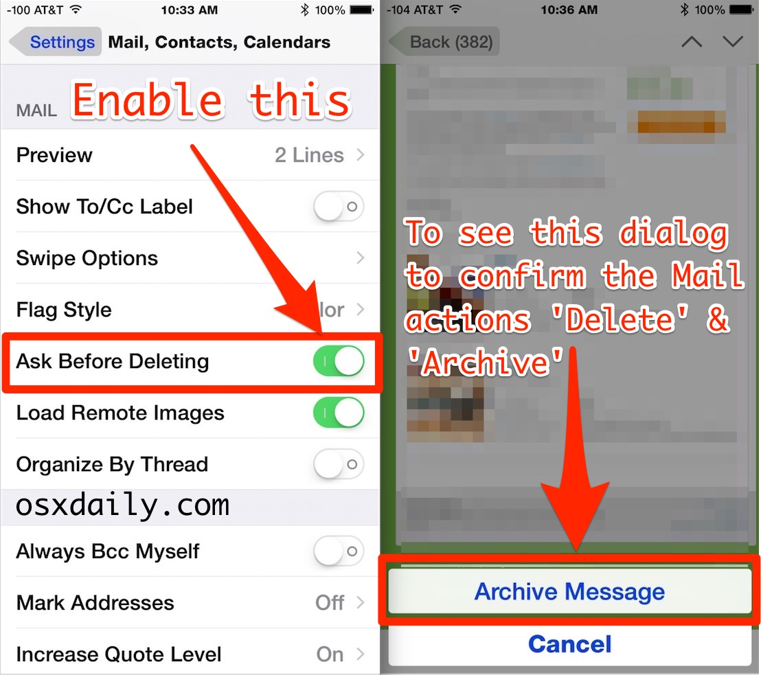 Enable the Confirm Box for archiving or deleting messages in Mail app iOS