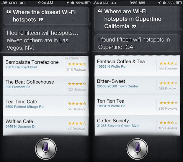 Find Wi-Fi Hotspots with Siri