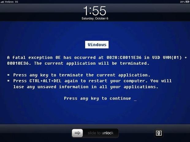 Funny iPad lock screen: blue screen of death