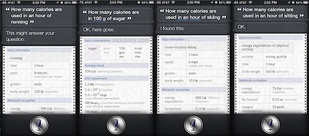 Get caloric usage information about activities from Siri