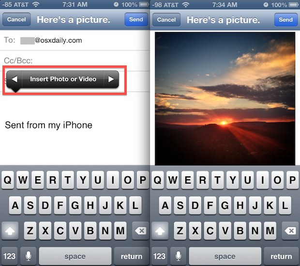 Insert a photo into email on iPhone