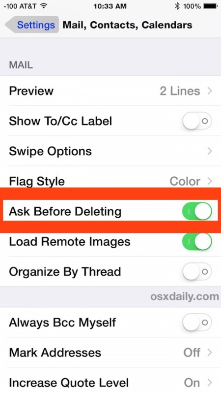 "Enable ""Ask Before Deleting"" in iOS Mail app to get a confirmation box before archiving or deleting messages"