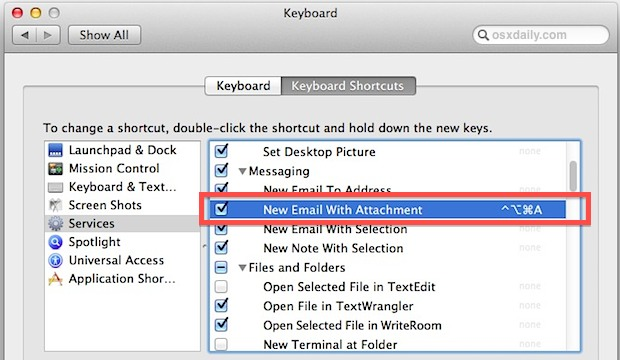 Set keyboard shortcut for creating a new mail with attachment