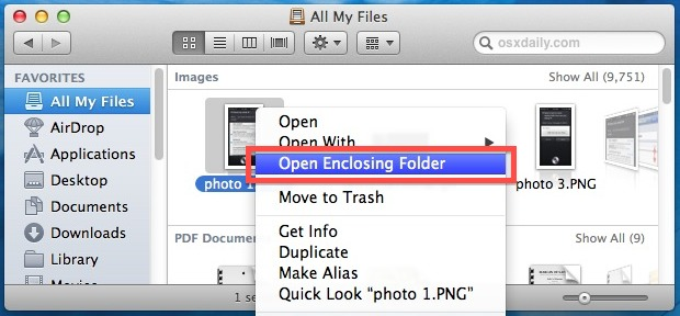 Open the Enclosing Folder of a file immediately from All My Files in OS X