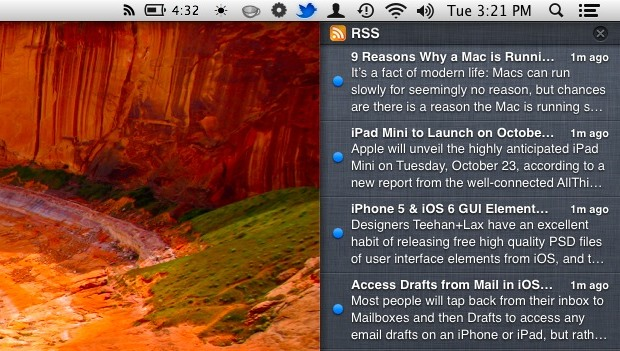 RSS feeds in Notification Center of Mac OS X