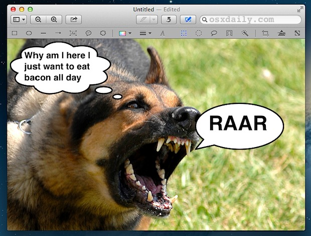 Add speech bubbles to pictures in Mac OS X