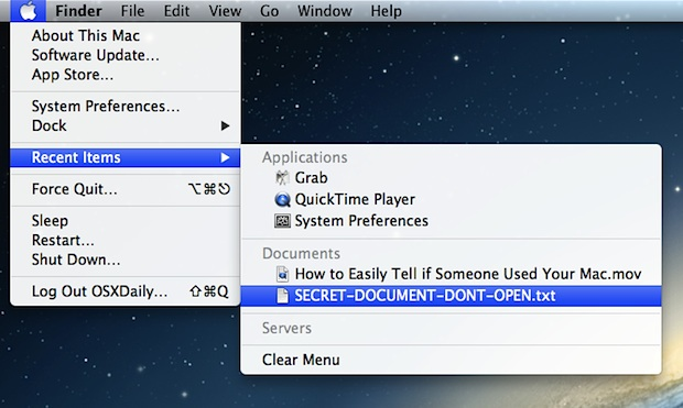 Determine if someone used your Mac and opened files