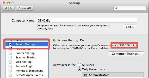 Turn On Screen Sharing in Mac OS X