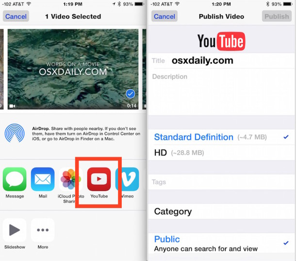 Upload a video to YouTube from iPhone and iOS