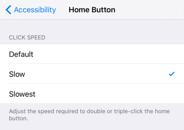 Change Home button click speed on iPhone and iPad