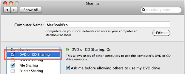 Enable CD DVD Drive Sharing in Mac OS X