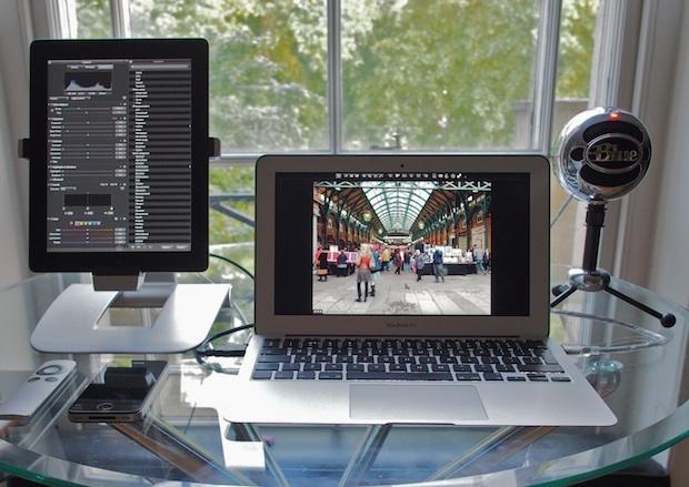 MacBook Air with iPad running Air Display as an external display