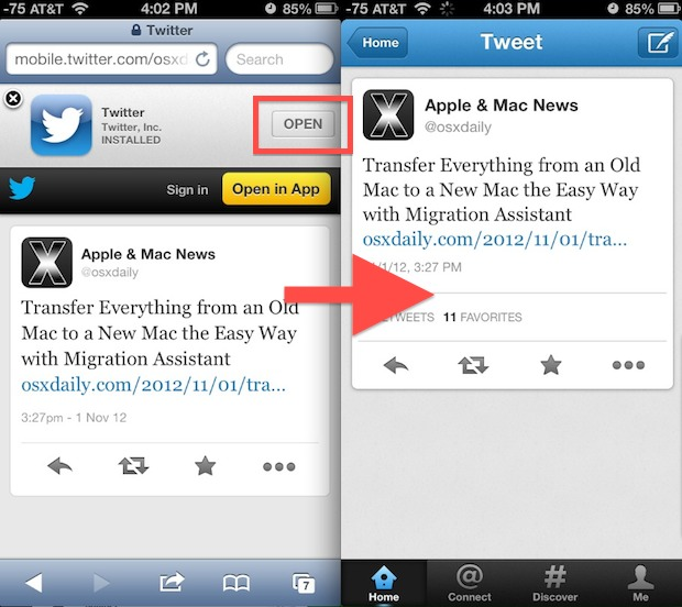 Open Twitter app directly from Safari in iOS