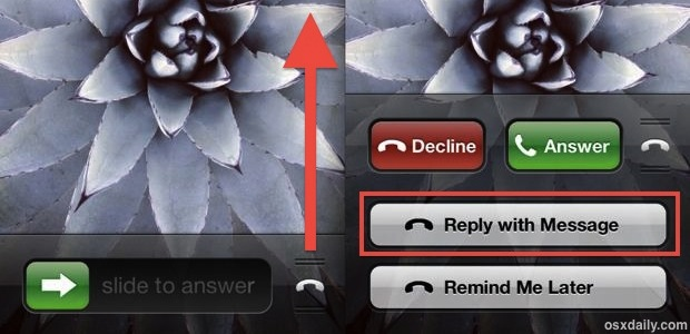 Reply to an incoming phone call with a text message