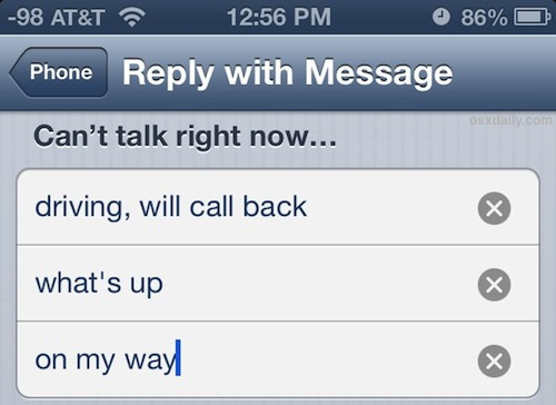 Set Reply with Message for incoming iPhone calls