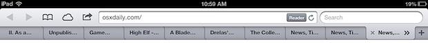 Safari tabs on iPad