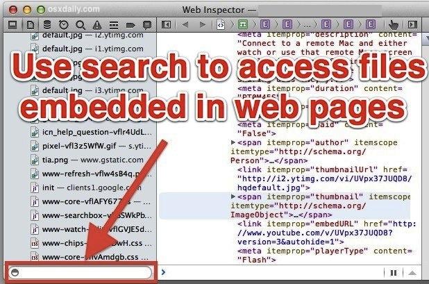Search Safari web resources
