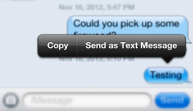 Send an iMessage as a text message