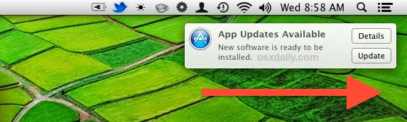 Swipe to Ignore a Software Update Notification
