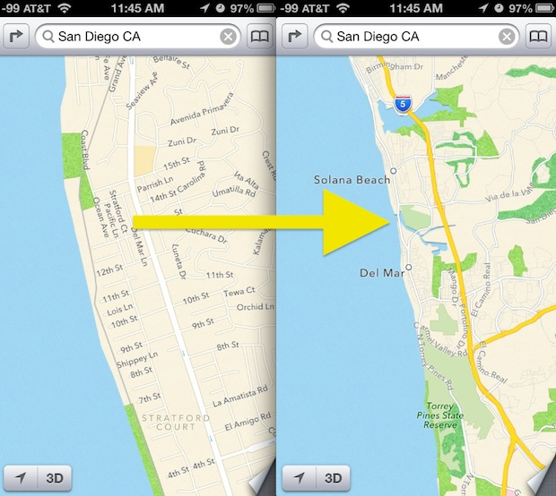 Quickly zoom out in Maps on iOS with a tap