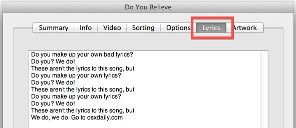 Add or edit lyrics to songs in iTunes