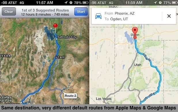 Compare alternate routes in Maps apps for iPhone
