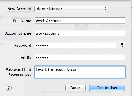 Creating the new user account on Mac OS X