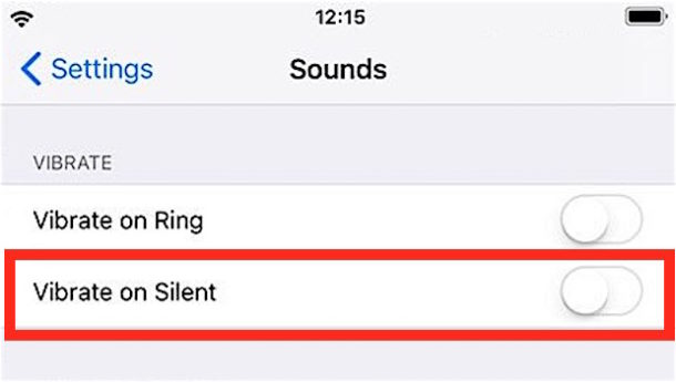 How to disable vibrate on iPhone with messages and ring