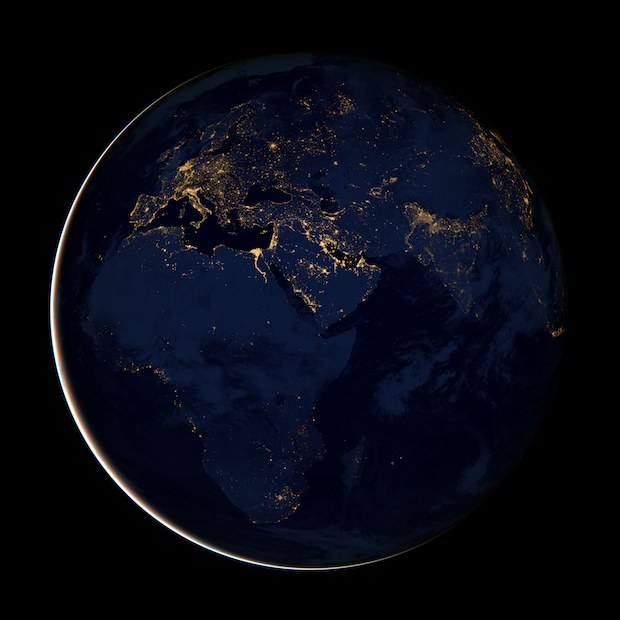 Earth at night, Europe, Africa, Mid East, NASA wallpaper
